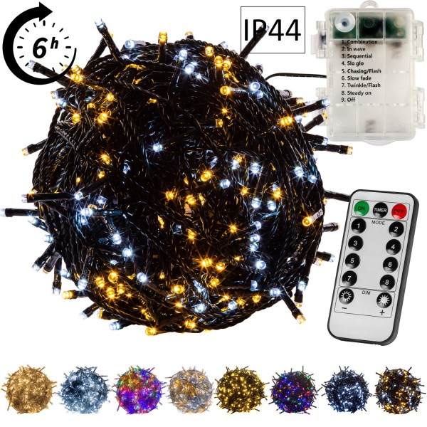 VOLTRONIC® 2er Set 50 LED Lichterkette wk,grün,Batt,FB