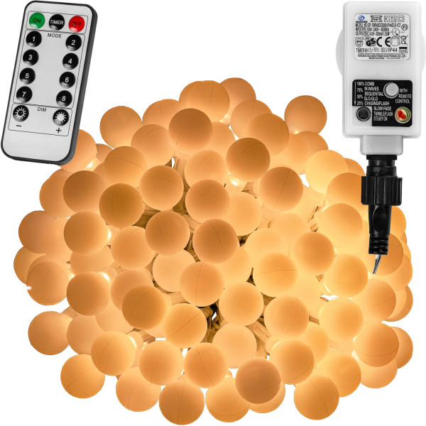 VOLTRONIC® 200 LED Lichterkette Party, warmweiß, Adapter, FB