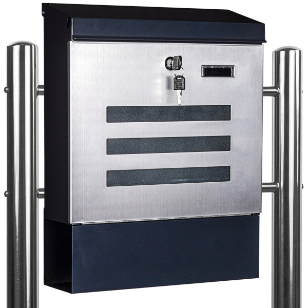 STILISTA® Standbriefkasten Stahl MIX mit Edelstahl Beinen 35