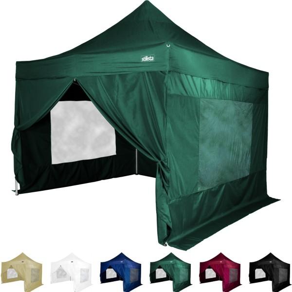 STILISTA® Faltpavillon mit 4 ST, grün, 3 x 3 m