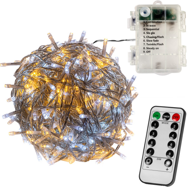 VOLTRONIC® 50 LED Lichterkette, warm/kalt, transp, Batt, FB