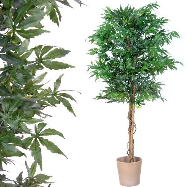 Marihuana Kunstbaum, Echtholzstamm, Kunstpflanze - 150 cm