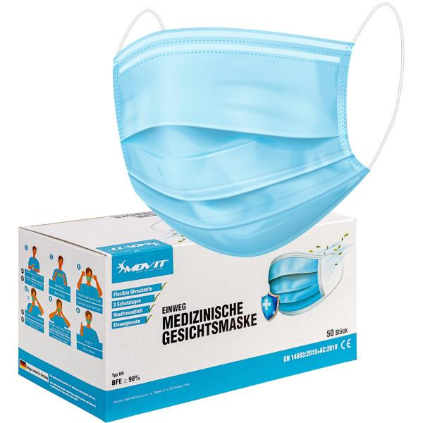 MOVIT® Einweg Gesichtsmasken 50 Stück, Farbe Blau