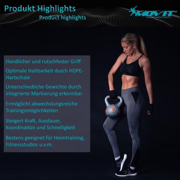 MOVIT® 4 kg Kettlebell Kugelhantel grau