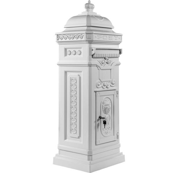 Säulenbriefkasten, Postkasten antik Weiß