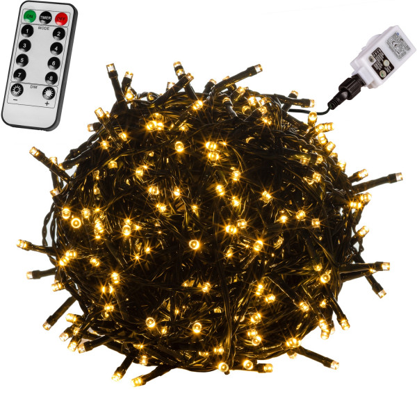 VOLTRONIC® 50 LED Lichterkette, warm-weiß, Kabel grün, FB