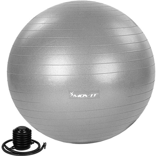 MOVIT® Gymnastikball mit Fußpumpe, 65 cm, silber