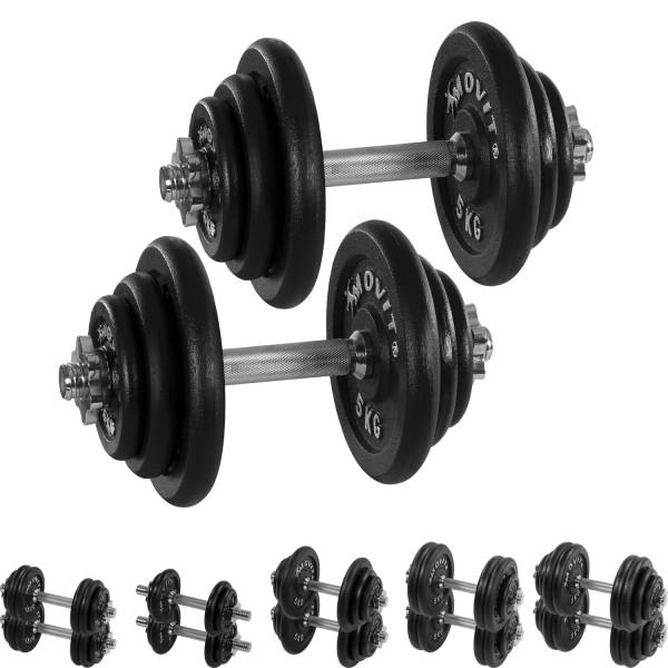 MOVIT® 2x 20 kg Hantelset, Gusseisen, 40 kg Kurzhanteln