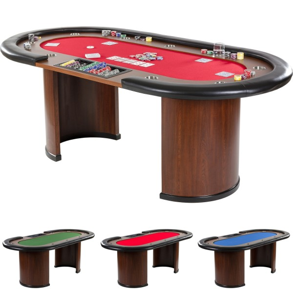 XXL Pokertisch ROT ROYAL FLUSH, 213 x 106 x 75cm, Casino