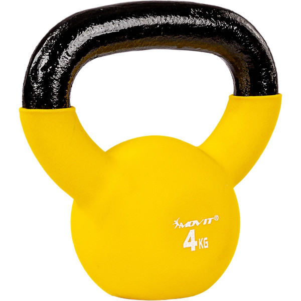 MOVIT® 4kg Kettlebell Kugelhantel gusseisen neopren gelb
