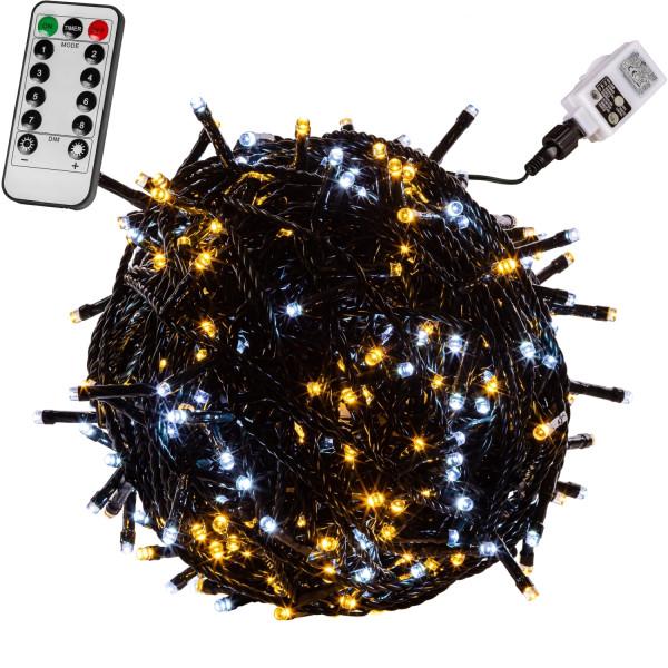 VOLTRONIC® 50 LED Lichterkette, warm/kalt, Kabel grün, FB
