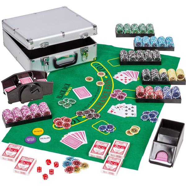 Ultimate Pokerset Pokerkoffer 600 Laserchips Kartenmischer