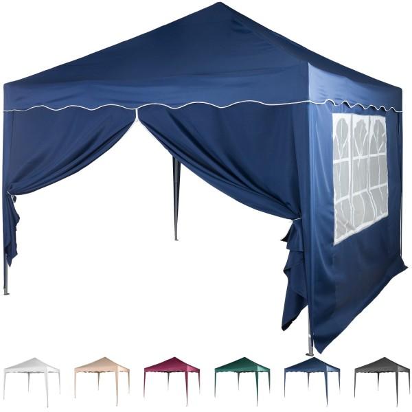 3x3 Faltpavillon Stahl Blau + 1 ST mit F. + 1 ST mit RV