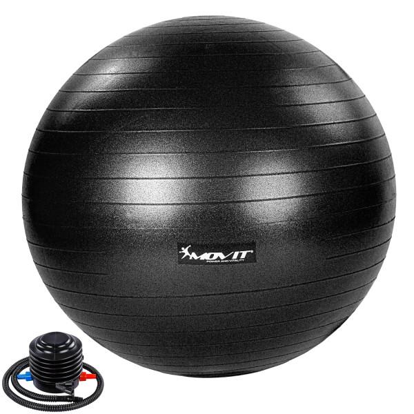MOVIT® Gymnastikball mit Fußpumpe, 75 cm, schwarz