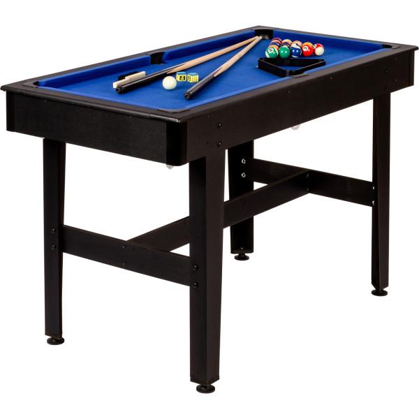 4ft Billardtisch, schwarzes Dekor, blaues Tuch