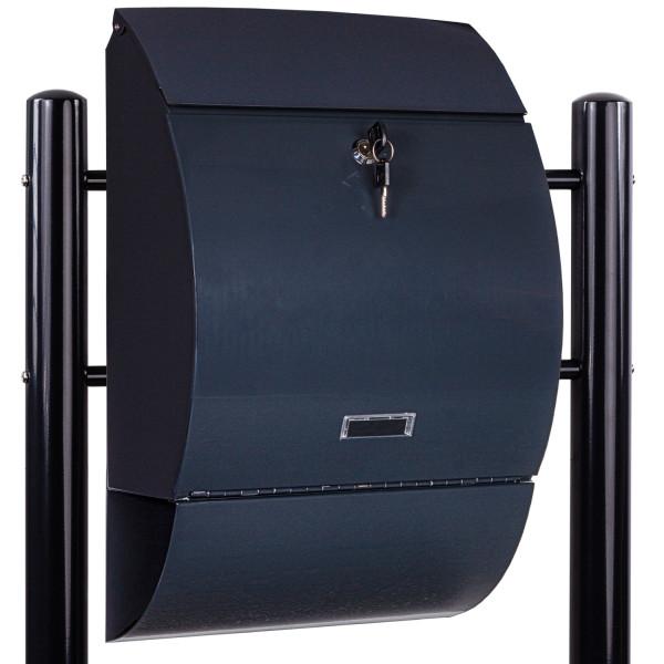Standbriefkasten Stahl mit Anthrazit Beinen 33x48x17cm
