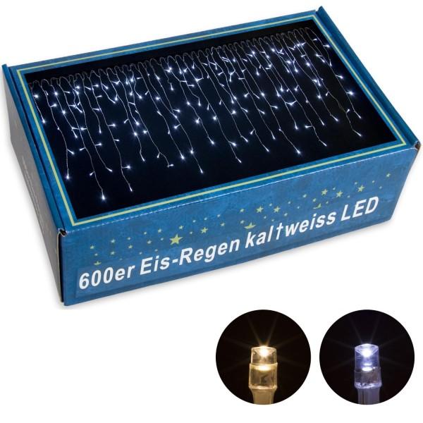 VOLTRONIC® 600 LED Lichterkette Eisregen, kalt-weiß