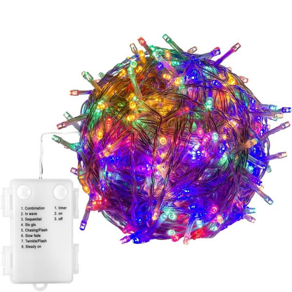 VOLTRONIC® 200 LED Lichterkette, bunt, transp, Batt