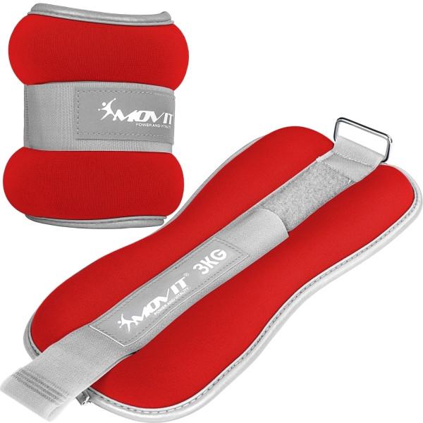 MOVIT® Neopren Gewichtsmanschetten 2x3 kg rot reflex F