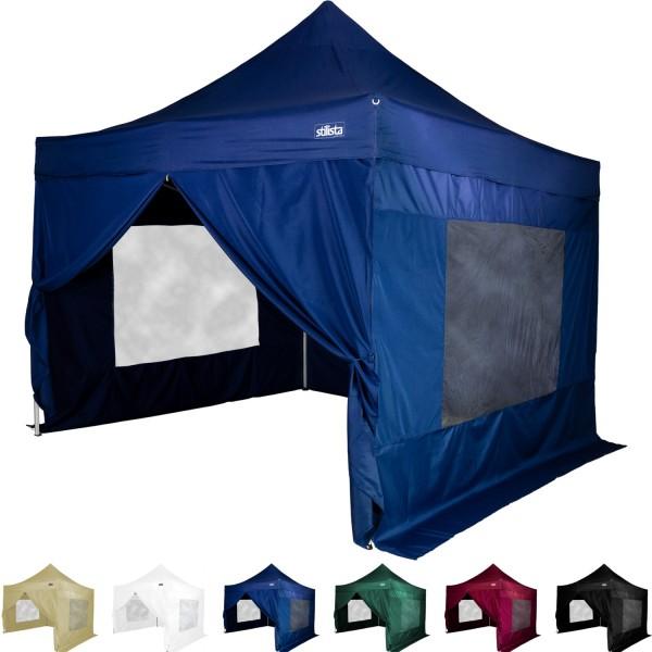 STILISTA® Faltpavillon mit 4 ST, blau, 3 x 3 m