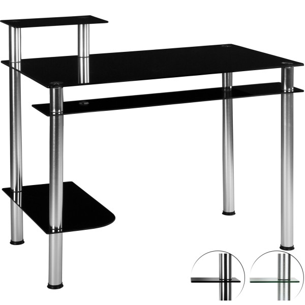 STILISTA® PC Büro Computertisch, Schwarzglas-Optik