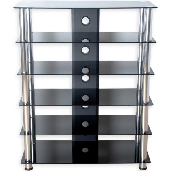 STILISTA® Design HiFi-TV-Audio Rack, Schwarzglas-Optik