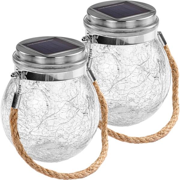 VOLTRONIC® Solar Glas rund 2er Set mit 20 LED Draht