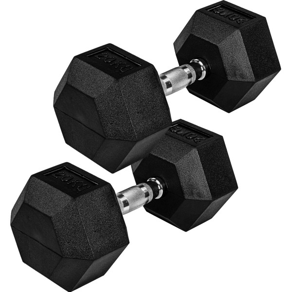 MOVIT® Hexagon Rubber Hantel 20kg 2er Set