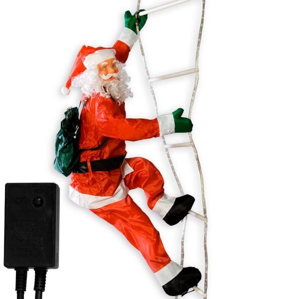 Weihnachtsmann auf Leuchtleiter, 240 cm