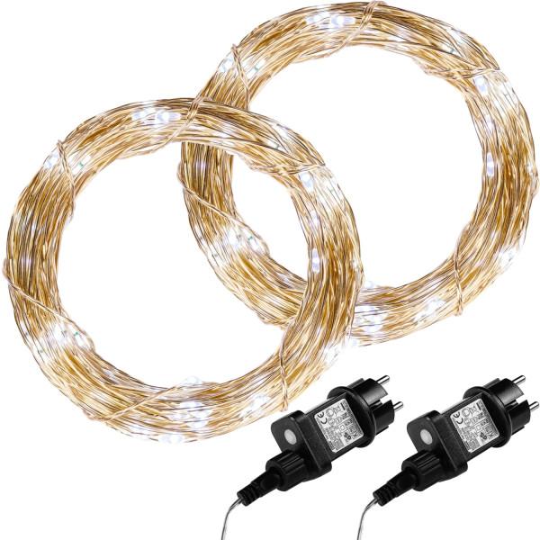 VOLTRONIC® 2Set 50 LED Lichterkette Draht, kaltweiß, Adapter