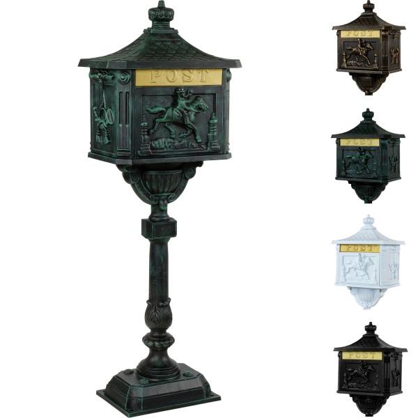 Antiker Standbriefkasten, Briefkasten Alu olivgrün