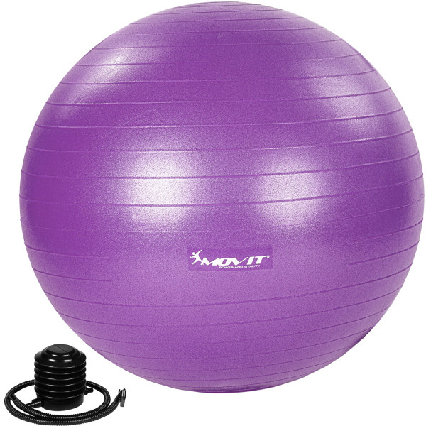 MOVIT® Gymnastikball mit Fußpumpe, 65 cm, violett