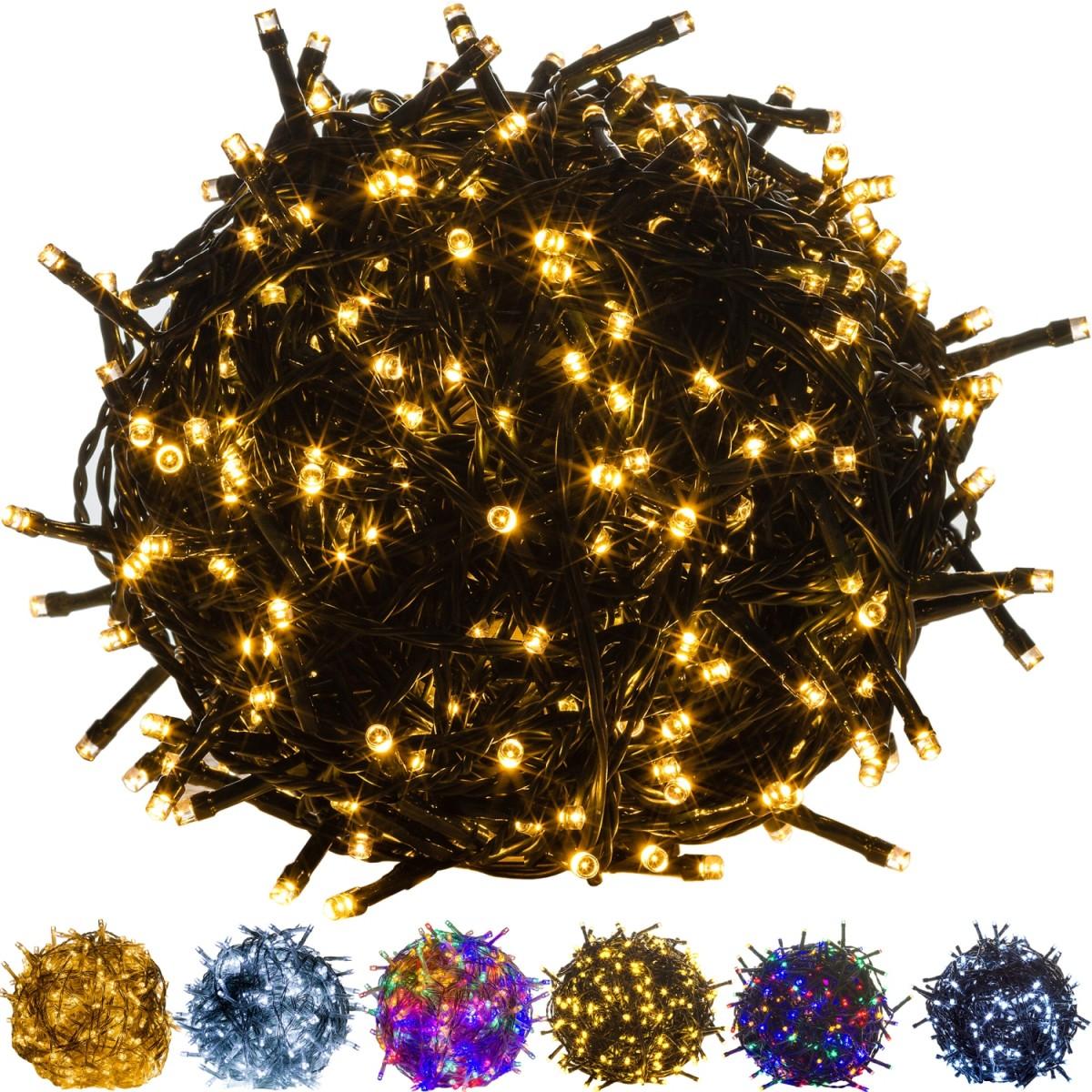 Die VOLTRONIC® Lichterketten (wahlweise mit grünem oder transparentem Kabel) sind in verschiedenen Varianten von 100, 200, 400 oder 600 LEDs in den Farben warm-weiß, kalt-weiß und bunt erhältlich. Somit ist diese Beleuchtung in vielen Bereichen einsetzbar, ob als Dekoration in der Weihnachtszeit oder zu Ihrer Party. Ihrer Fantasie sind hierbei keine Grenzen gesetzt. Die Lichterketten sind für den Einsatz im Außen- und Innenbereich geeignet (Schutzklasse IP44). LEDs erzeugen weder Hitze noch UV-Licht. Der Stromverbrauch ist im Vergleich zu Glühbirnen äußerst gering (bis zu 90 % Ersparnis). Die Lebensdauer einer LED beträgt bis zu 100.000Stunden und übertrifft bei weitem die einer normalen Glühbirne (je nach Leistung ca. 1000 Stunden). Bei den VOLTRONIC® Lichterketten wurde höchster Wert auf die Sicherheit gelegt, deshalb sind sowohl die Lichterketten (durch BUREAU VERITAS) als auch der Adapter (durch DEKRA) GS zertifiziert worden (Geprüfte Sicherheit). Preis: 13.90 €
