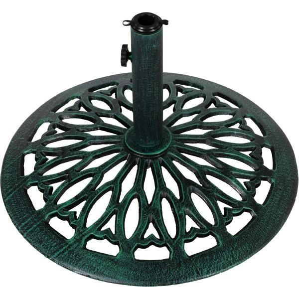 Sonnenschirmständer Gusseisen grün bronze, 17 kg