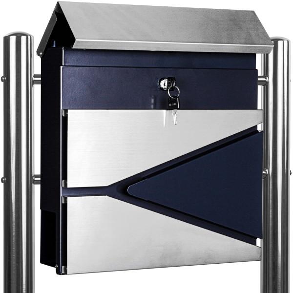 Standbriefkasten Stahl MIX mit Edelstahl Beinen 37x36x10,5cm