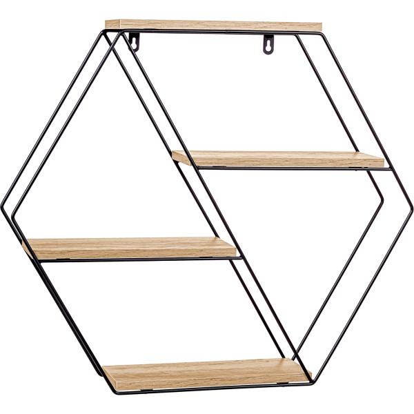 STILISTA® Design Regal hexagon Holz hell