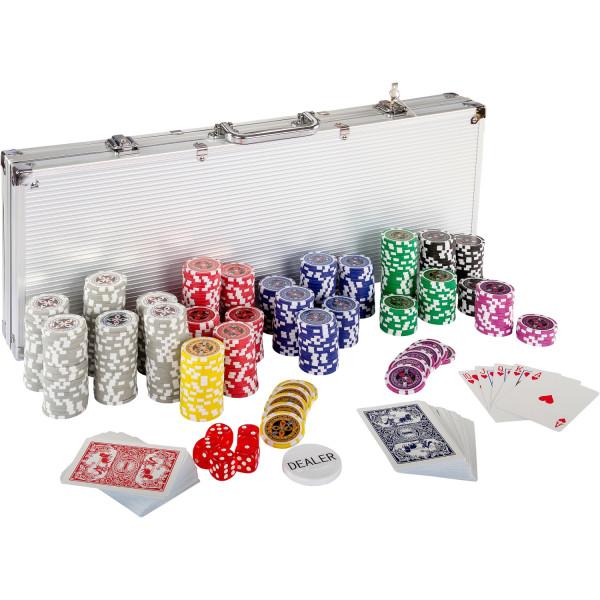 Pokerkoffer, Pokerset, mit 500 Laserchips, Aluminium