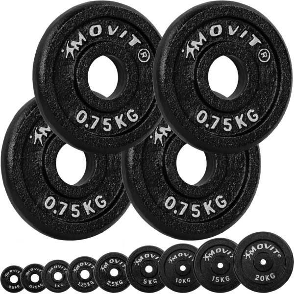 MOVIT® 4x Hantelscheiben 0,75 kg Gusseisen