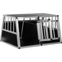 Alu Hundetransportbox 2-türig mit Trennwand Rückwand 75°