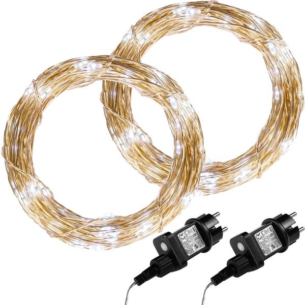 VOLTRONIC® 2Set 200 LED Lichterkette Draht, kaltweiß,Adapter