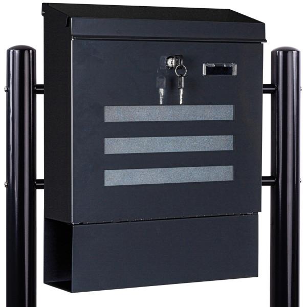 STILISTA® Standbriefkasten Stahl mit Anthrazit Beinen 35x44x
