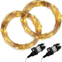 VOLTRONIC® 2Set 50 LED Lichterkette Draht, warmweiß, Adapter