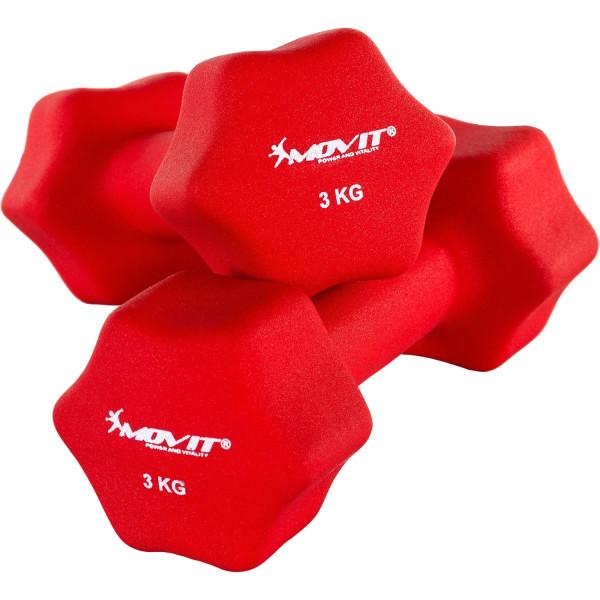 MOVIT® 2er Set 3,0 kg Profi Neopren Hanteln, Rot