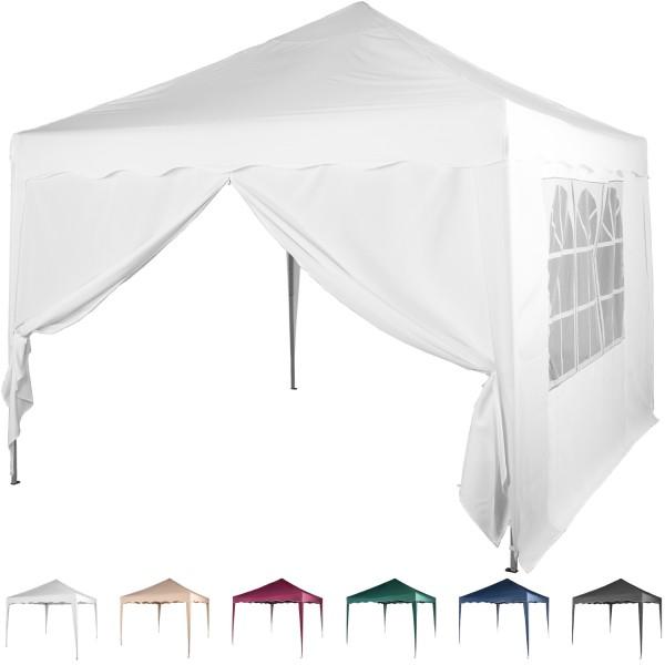 3x3 Faltpavillon Stahl Weiß + 1 ST mit F. + 1 ST mit RV