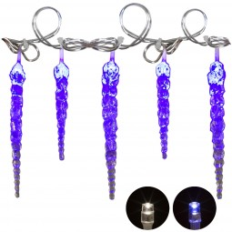 VOLTRONIC® 40 LED Lichterkette Eiszapfen Blau