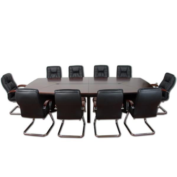 Konferenztisch, Besprechungstisch mit 10 Leder Stühlen