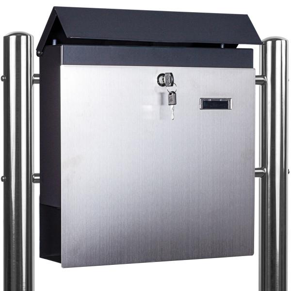 STILISTA® Standbriefkasten Stahl MIX mit Edelstahl Beinen 37