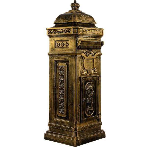 Säulenbriefkasten, Postkasten antik messing