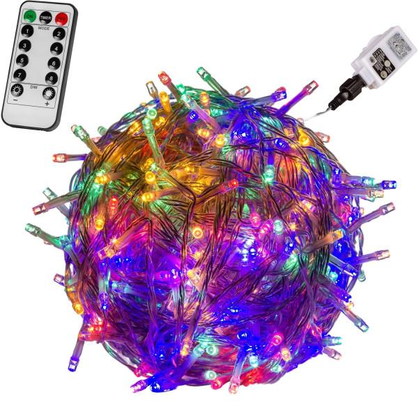 VOLTRONIC® 50 LED Lichterkette, bunt, Kabel transp, FB