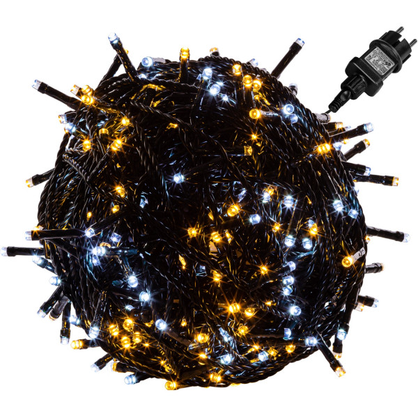 VOLTRONIC® 400 LED Lichterkette, warm/kalt, Kabel grün